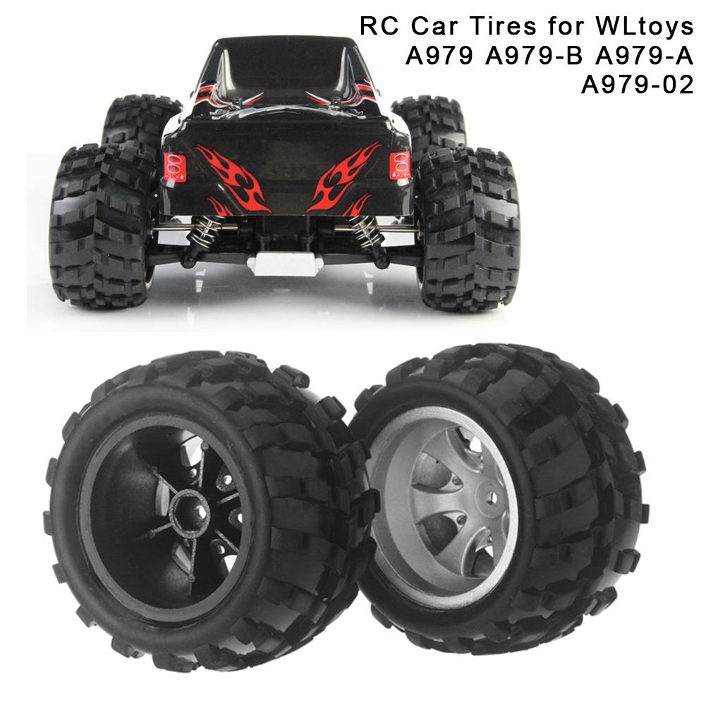 <font><b>RC</b></font> Car Tires Rubber Mini Tire <font><b>Set</b></font> Electric Toy Car <font><b>Wheel</b></font> Rim Anti-skip Tyre For WLtoys A979 A979-B A979-A A979-02 Climbing Car image