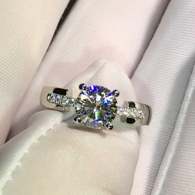 9K זהב לבן טבעת 1ct 2ct 3ct Moissanite תכשיטי יוקרה טבעת יהלום 4 טפרי אירוסין יום נישואים טבעת עבור נשים