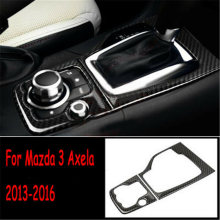 Carbon Fiber Gear Shift Panel Cover For Mazda 3 Axela 2013-2016 Trim 2Pcs Parts Durable(China)