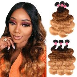 Tissage en lot brésilien Remy naturel Body Wave-Ali Julia Hair, couleur T1B/4/27, Extension à Double trame, lot de 3