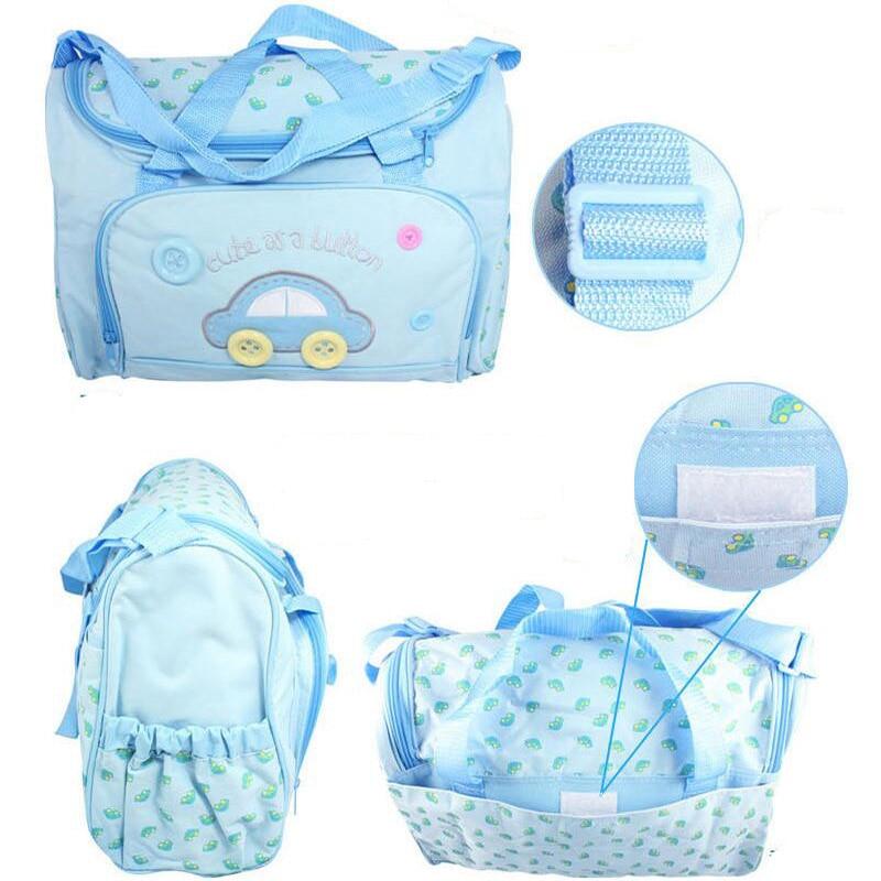 4PCS/set Mother Care Bag Waterproof Large Diaper Bag Organizer For Mummy Handbag Bebe Maternity Trolley Baby Nappy Bag Backpack
