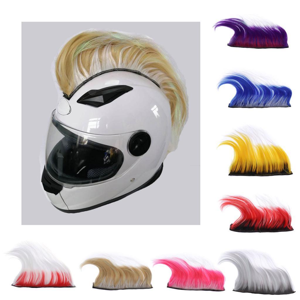 DIY Helm Mohawk Haar Punk Haar Bunte Modellierung Perücke Für Motorrad Ski Snowboard Helme Haar Cosplay Motorrad Zubehör