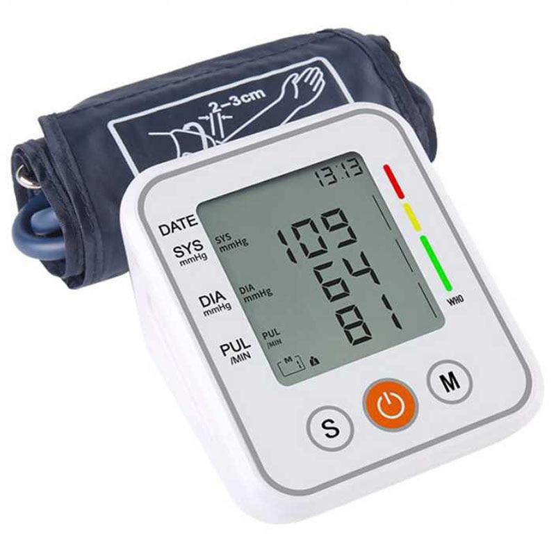 Automatic Medical Upper Arm Blood Pressure Meter Cuff Monitor Machine Smart Bp Heart Rate Tonometer Sphygmomanometer Tensiometer