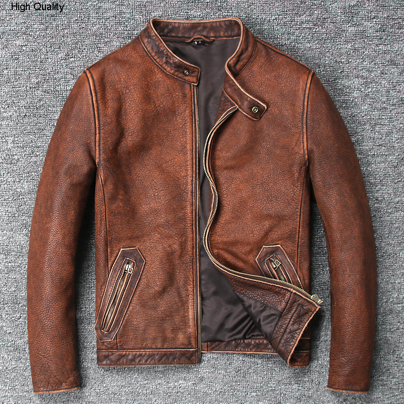Men's Vintage Cow Leather Jacket Stand Collar Wash Do Old Leather Coat Men Brown Color Simple Style Biker Jacket For Male