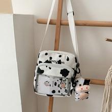 Sac à bandoulière en toile imprimé vache pour femmes, sacoche de loisirs au Design Original, sac à épaule pour téléphone, 2020