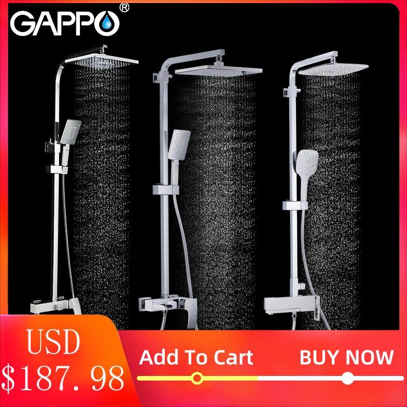 Gappo conjunto torneira do chuveiro do banheiro sistema de chuveiro branco banho chuveiro banheiro torneiras cachoeira latão cromado bens para banho