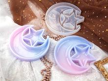 Diy cristal silicone molde resina estrela lua prato contendo caixa de armazenamento de jóias espelho molde de silicone