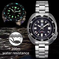 STEELDIVE 200M reloj de buceo automático mecánico para hombres NH35 Japón C3 superluminoso reloj de buceo hombres relojes de acero inoxidable
