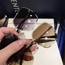 New Sunglasses Women Oversized Eyewear 2019 Gradient Brown Pink Rimless Sun Glas