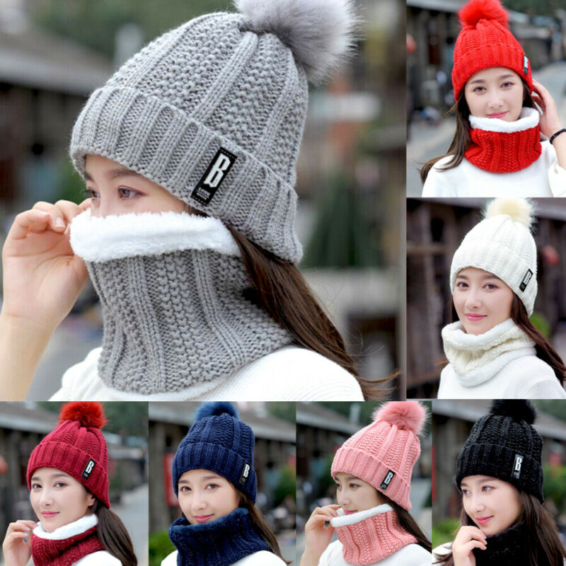 2Pcs Women Winter Hat Neckerchief Outdoor Warm KnittedHairball B Letter Decal Beanie Pom  Crochet Ski Cap Scarf Set