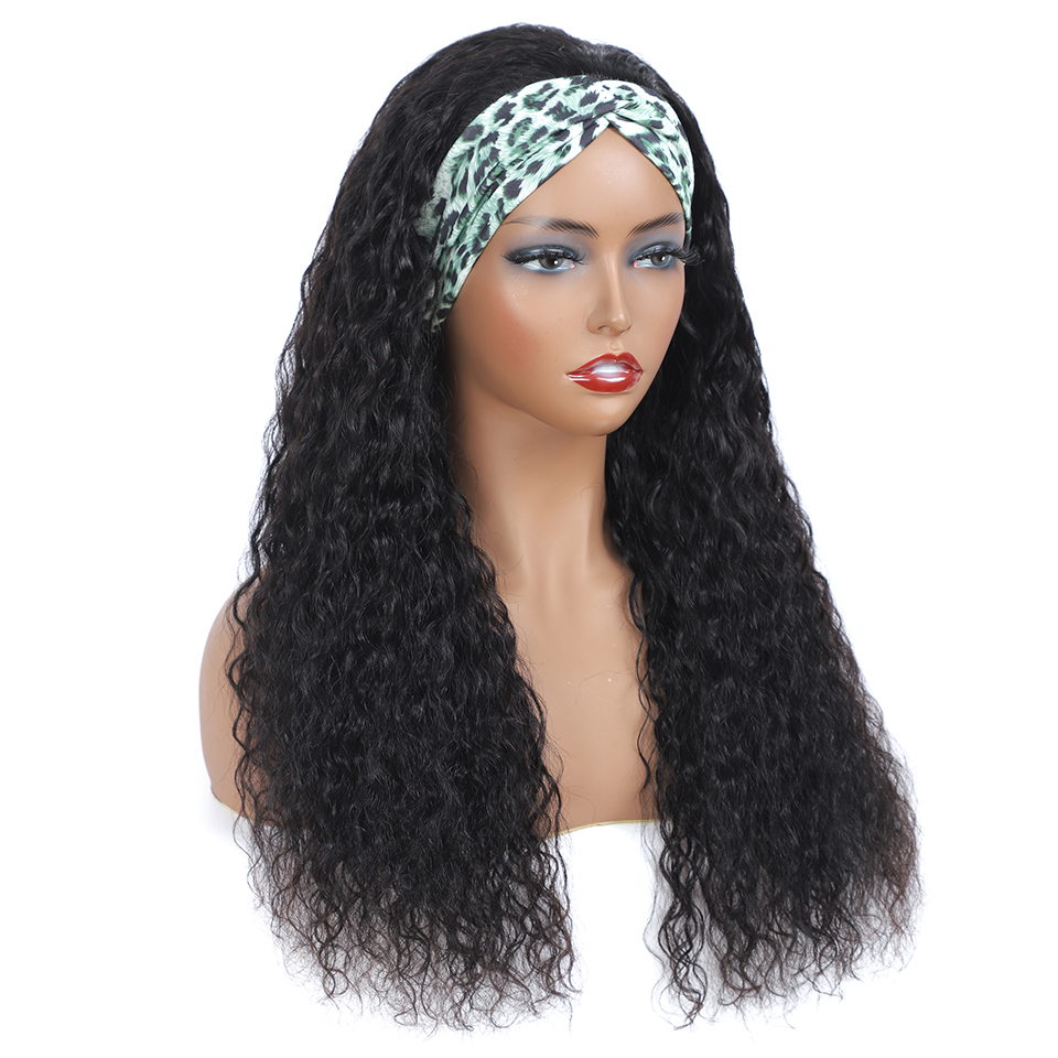New Headband Wig  Wigs  Deep Wave 26 Inch  Machine Made  Natural Color Hair 150% Density 4