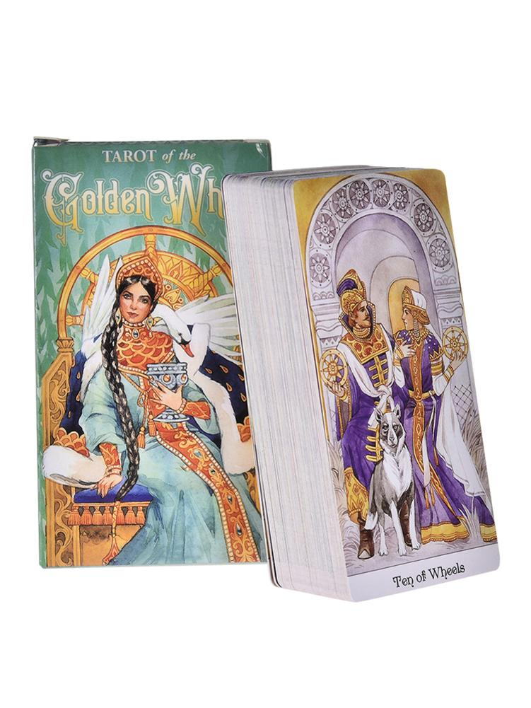 78 Tarot Of The Golden Wheel Table Game Cards Playing Board Game Toy Divination Card English PFD Guidebook Deck For Friend Party