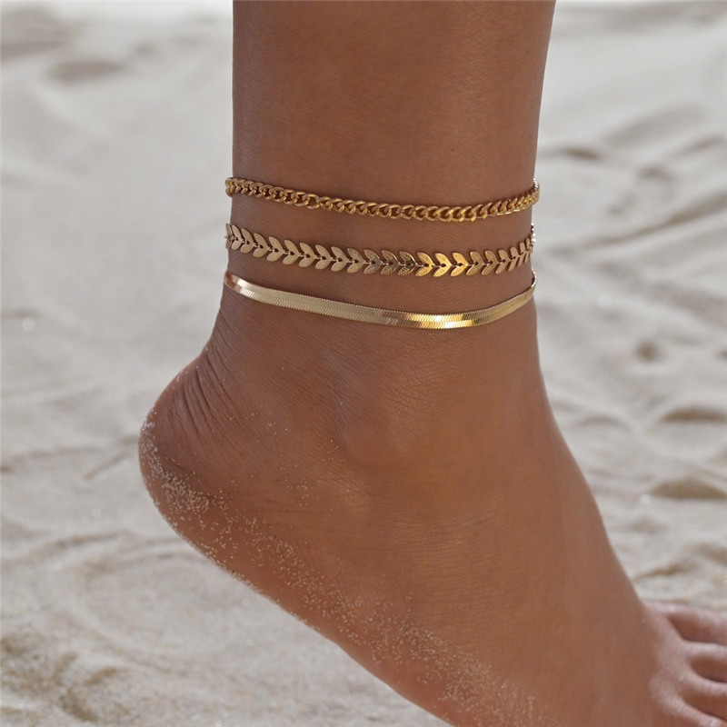 Modyle 2020 New Gold Color Simple Chain Anklet for Woman Fashion Leaves Multilayer Anklet Set Beach Accessories Jewelry
