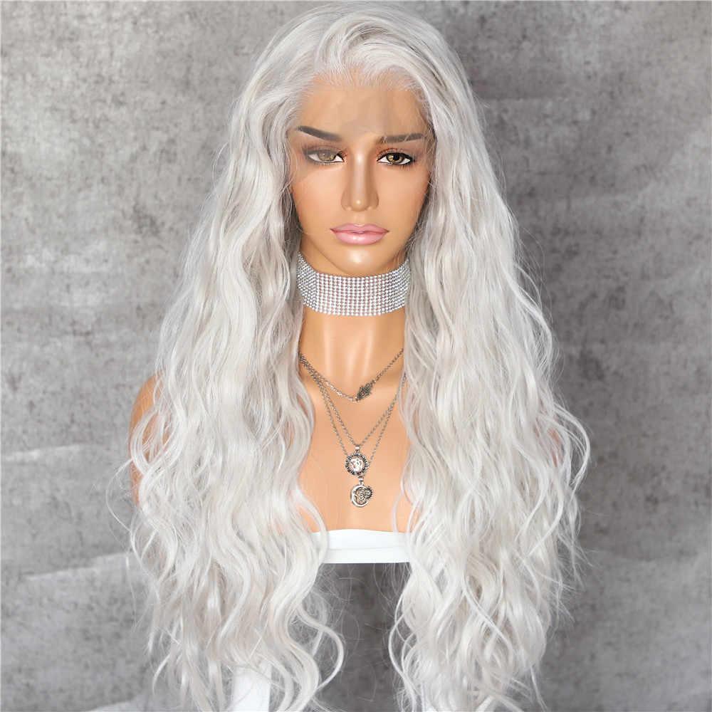 Lvcheryl Spitze Vorne Perücke Natürliche Welle Platin Grau 13x6 Synthetische Spitze Vorne Perücke Futura Haar Spitze Perücken Für frauen