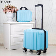 KLQDZMS Women's Fashion Wheeled Suitcase Trolley Travel Spinner Rolling Luggage 18 Inch ABS Colorful Suitcase Set