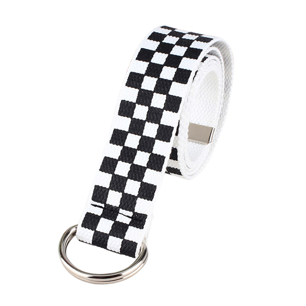 New Fashion Men Waistband Female Long Plaid Checkerboard  Nylon Canvas Belt Couple Checkered Belt With Double Buckle Free Size