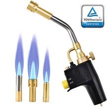 3 Nozzles Brazing Welding Torch MAPP Propane Gas Torch Plumbing Blow Torch Soldering Tool Adjustable Metal Flame Gun Torch
