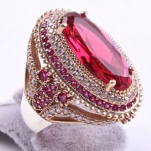 Gorgeous large oval pink red stone rings for women luxury filled
