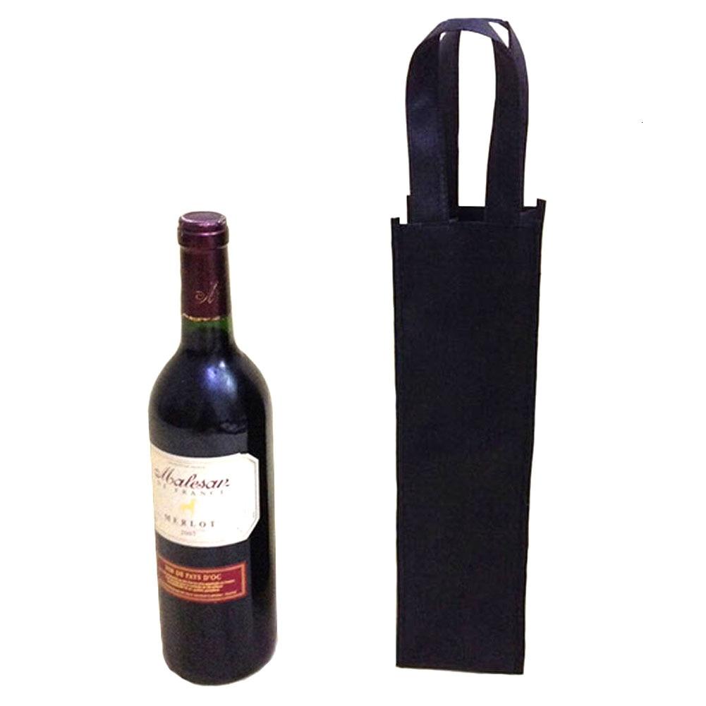 Black Wine Bag Reusable Gift Single Bottle Tote Cover Sleeve Tote Holder Vineyard Single Pack Set 4.3''x4''x13.7''