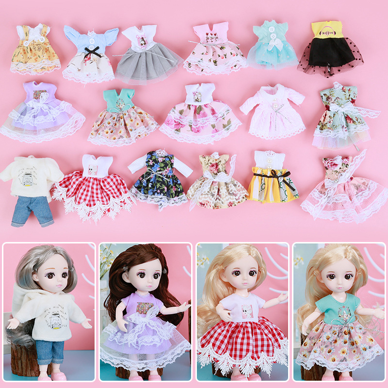 16cm Doll Clothes For 1/12 BJD Doll Dress Up Fashion Dress Skirt Outfit General Dress For Girl Toy Accessories Christmas Gift