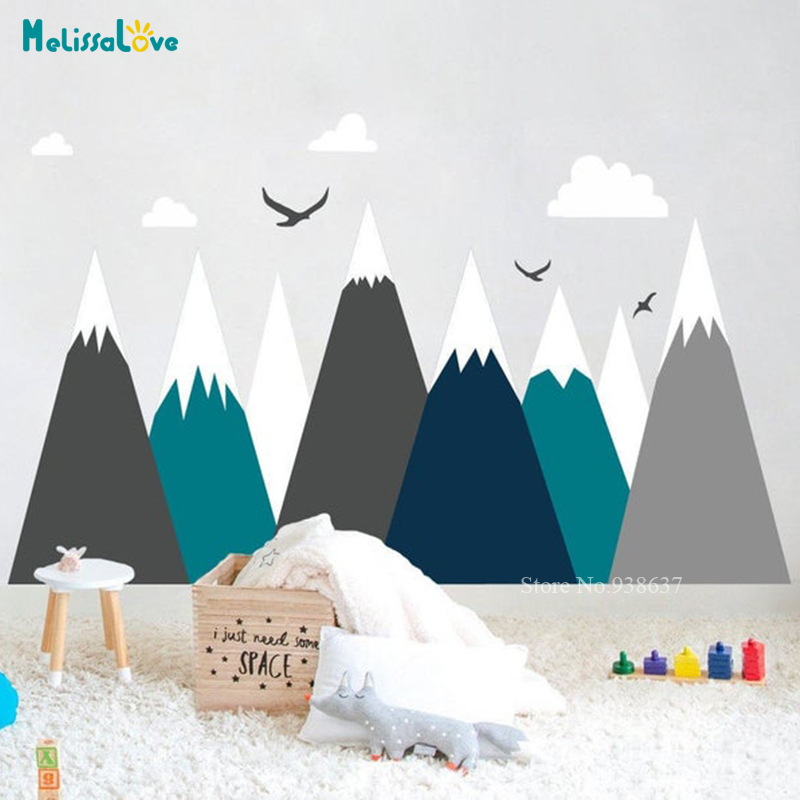 Mountains Cloud Bird Woodland Wall Sticker Adventure Decal Baby Kids Nursery Room Decoration BA496