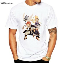 100 algodão camisa de manga curta t camisa de algodão camisa de manga curta t-shirt de diversão oversize natsu lucy e feliz fairy tail adesivos camisas