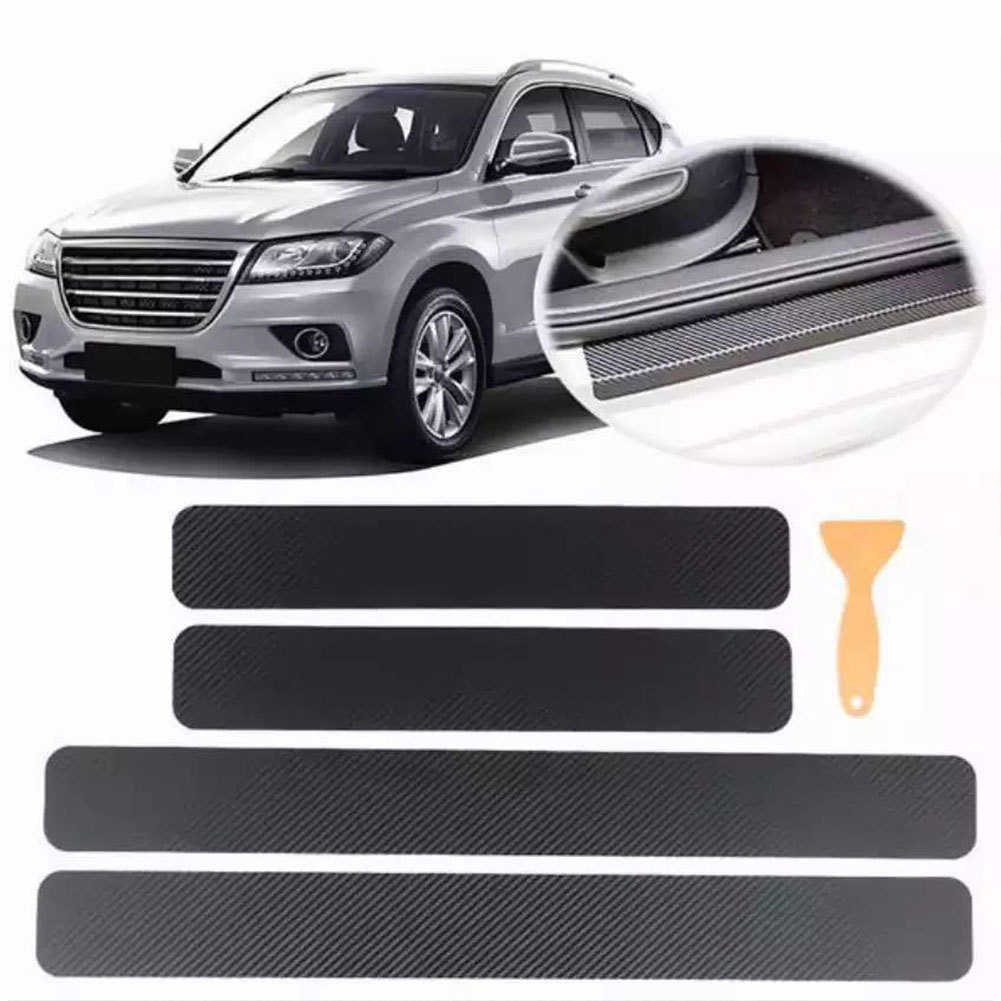 4 Stuks Auto Stickers Universele Sill Scuff Anti Scratch Carbon Fiber Auto Deur Sticker Decals Auto Accessoires