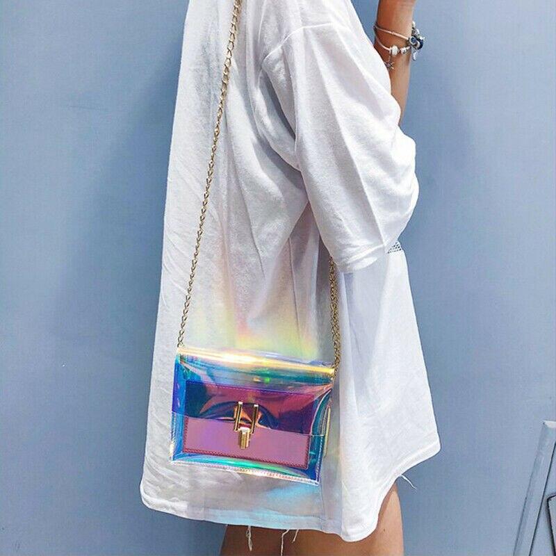 Women Shoulder Bag Laser Transparent PVC Crossbody Messenger Bags Wallet Purse  /BY