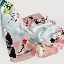 65*65cm Vierkante Sjaal Zijden Halsdoek 100% Hangzhou Zijden Hoofddoek Wraps voor Dames Gedrukt Bandana Real Zijde Vierkante hals Sjaal