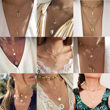Fashion Shell Necklaces Multilayer Chain Gold Necklace For Women Wedding Beach Charm Jewelry Exquisite Accesorios Mujer