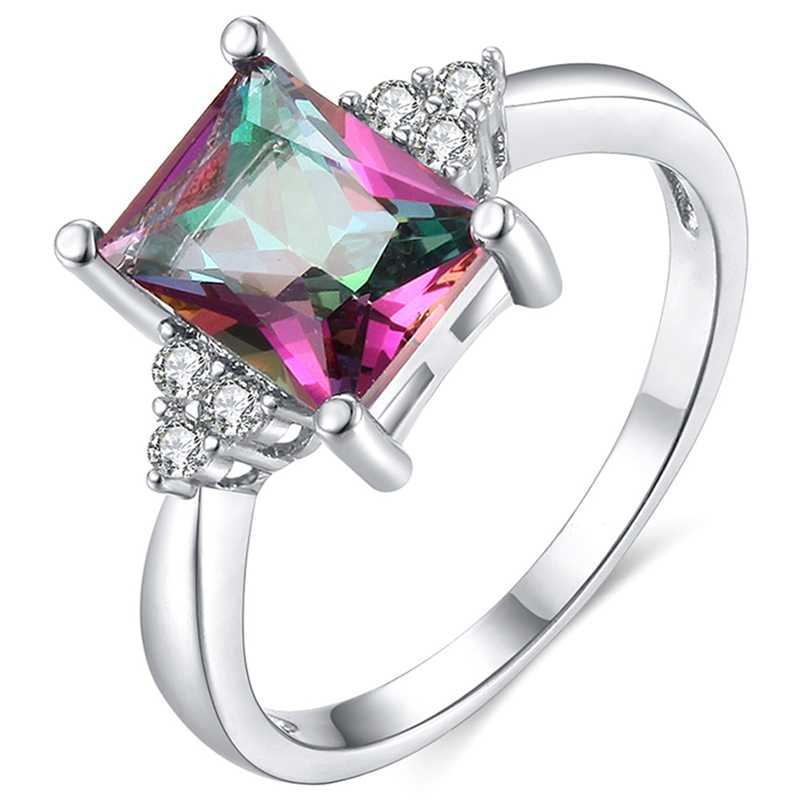 New Fashion Mystic Multicolor Ring Silver-color Ring Wedding  Engagement For Women Colorful Stone Square Rings Jewelry Gift