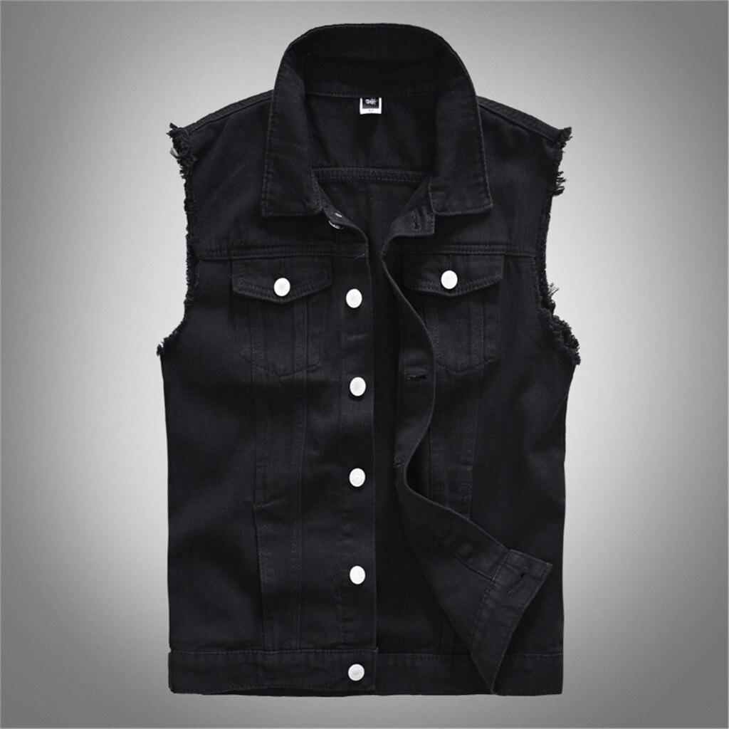 MoneRffi Cotton Jeans Sleeveless Jacket Vest Men Plus Size 6XL Black Denim Jeans Vest Male Cowboy Outdoors Waistcoat Men Jacket
