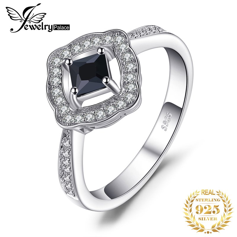 JewelryPalace Elegant 0.55ct Square-Cut Genuine Spinel Halo Ring For Women 100% Real 925 Sterling Silver Charms Fine Jewelry