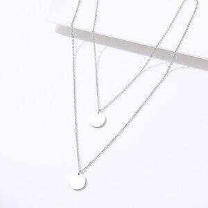 DOTIFI для женщин модное двойное ожерелье геометрический двойной диск кулон из нержавеющей стали золотой и серебряный цвет ювелирные изделия ...