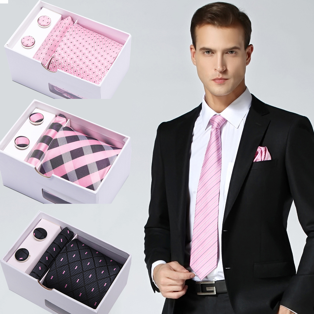 Luxury Formal Men's Pink Tie Stripe 7.5cm Ties Set Business 100% Silk Fashion Accessories Wedding Classic Gift Box Packing Ties