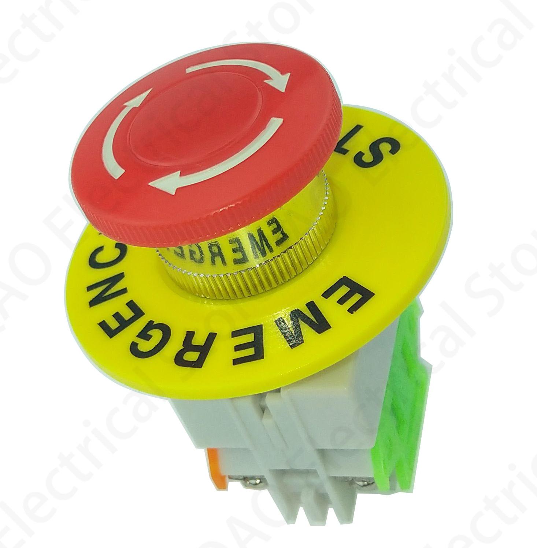 Купить lay37 грибная крышка 1no 1nc dpst аварийный стоп кнопочный переключатель