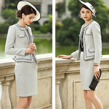 Tweed Dress Suits For Women Luxury Brand Woolen Wool Slim Blazer Jacket Elegant Autumn Winter Two Piecet Set Office Lady Clothes(China)