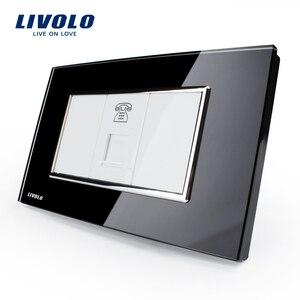 Image 2 - Livolo יוקרה לבן זכוכית קריסטל לוח, לדחוף כפתור בית מתג קיר, מחשב, טל המתחבר, עמעם, SATV קיר שקע