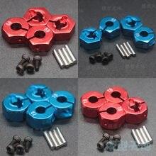 Adaptador de liga de metal para roda, 4 unidades, 5/6/7mm de espessura, aro de roda hex 12mm hsp hpi tamiya sakura todos os 1/10 carro rc 94123 94122 cs d4
