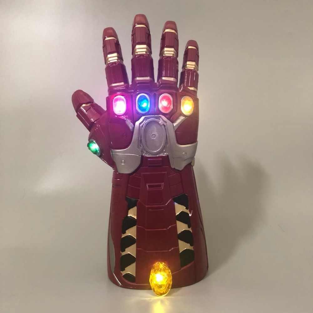 Vingadores endgame homem de ferro infinito gauntlet pedras hulk móvel tony stark luz led cosplay thanos homem menino pvc luvas super-herói