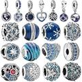 2020 echtes 925 Sterling Silber Blue Night Sky Funkelnden Sterne Mond Charme Perlen fit Original pandora Armbänder Schmuck geschenk