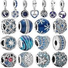 2020 genuíno 925 prata esterlina azul céu noturno estrela lua encantos grânulos caber pandora original pulseiras jóias presente