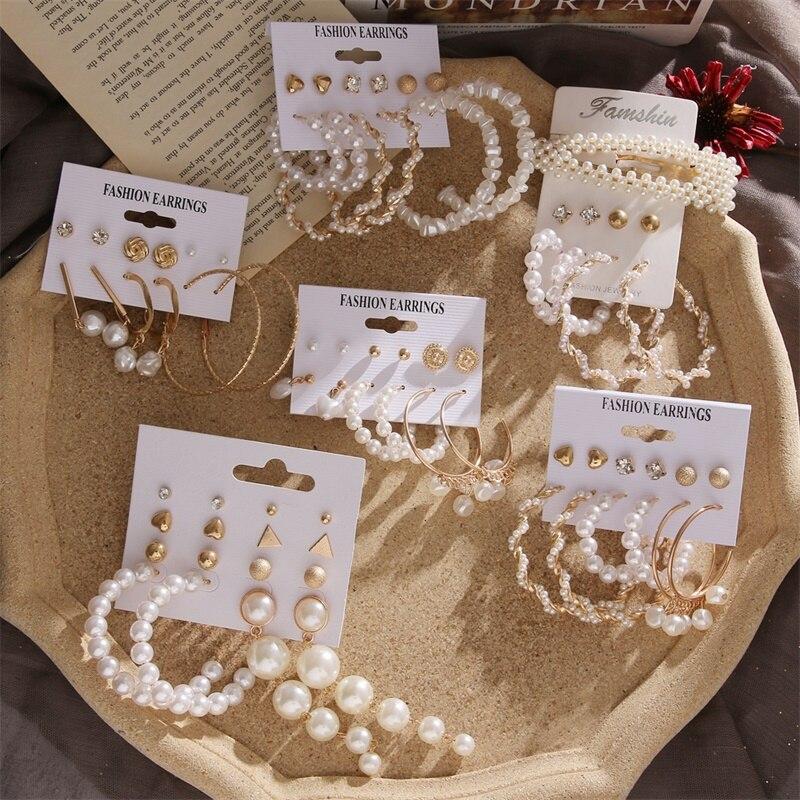 VKME Vintage Pearl earrings set earrings For Women earings fashion jewelry 2020 New Gold Crystal jewelry Gift
