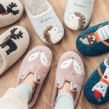Winter Warm Home Women Fur Slippers Cute Fox Unicorn Bear Animals Indoor Cotton Ladies Slippers Soft Memory Foam Couples Shoes