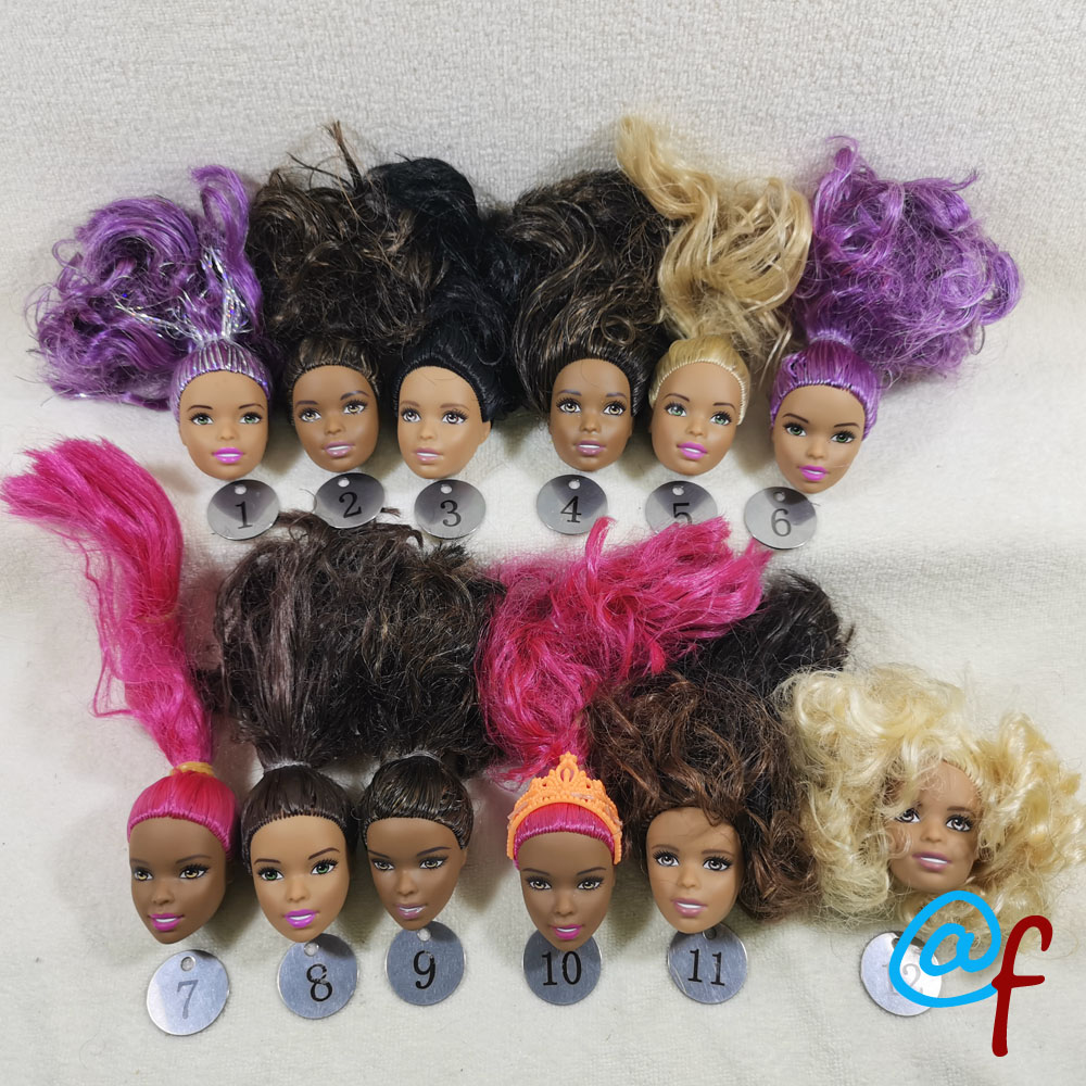 B333-1 Original Foreign Trade Africa Beauty 1/6 OOAK NUDE Rarely Doll Head Mussed Many Hair For DIY