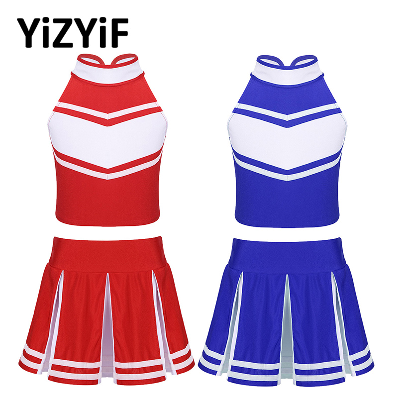 Cheerleader Costume Kids Girls Jazz Dance Costume Sleeveless Zippered Tops With Pleated Skirt Set School Cheerleading Uniforms
