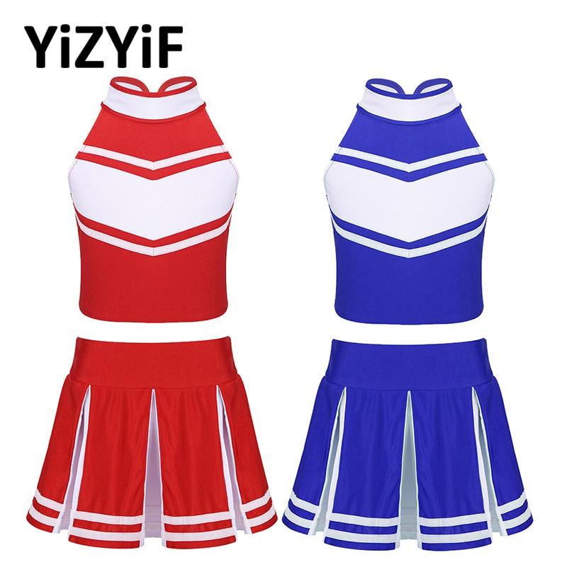 Cheerleader Costume Kids Girls Jazz Dance Costume Sleeveless Zippered Tops With Pleated Skirt Set School Cheerleading Uniforms