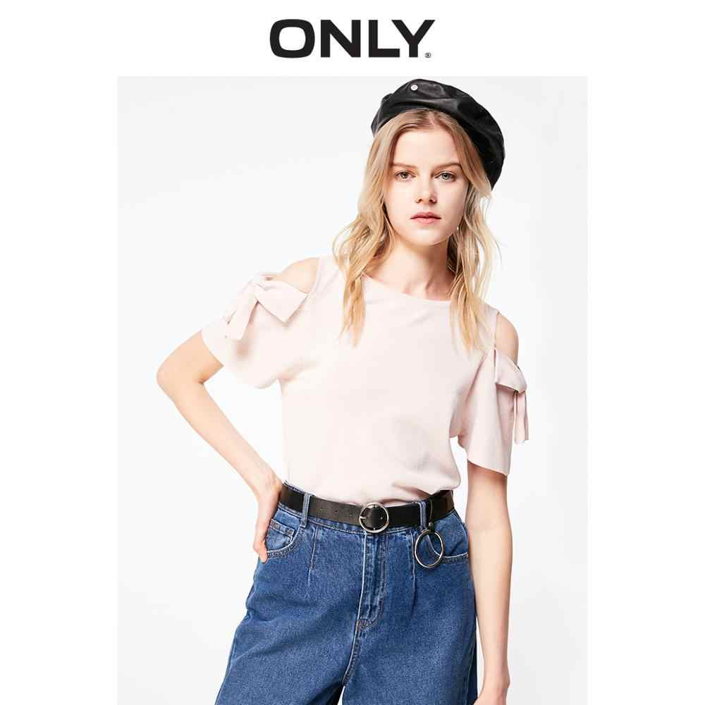 ONLY Women's Thin Bowknot 반소매 스웨터 니트 | 119124531