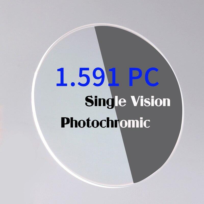 Lentilles photochromiques à vision unique 1.591 PC lentilles optiques en polycarbonate et photochromatiques