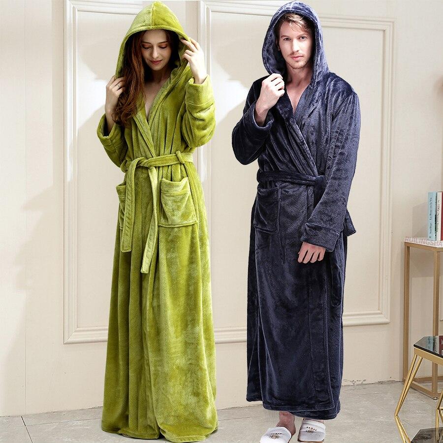 Женский длинный теплый фланелевый банный халат большого размера, зимний банный халат, халат подружки невесты с капюшоном, сексуальный хала